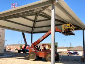 Pavilion being built