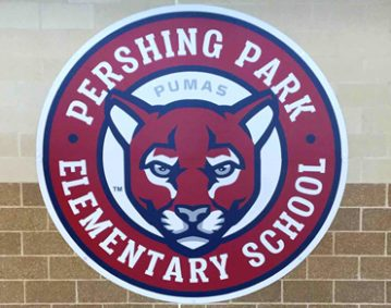 Pershing Park Elementary School logo mural